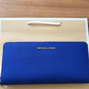 Michael Kors money pieces continental wallet blue